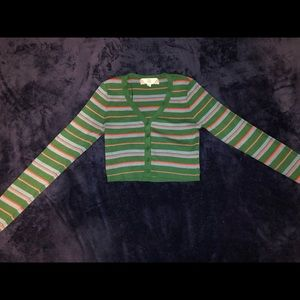 Striped crop top button up sweater size small